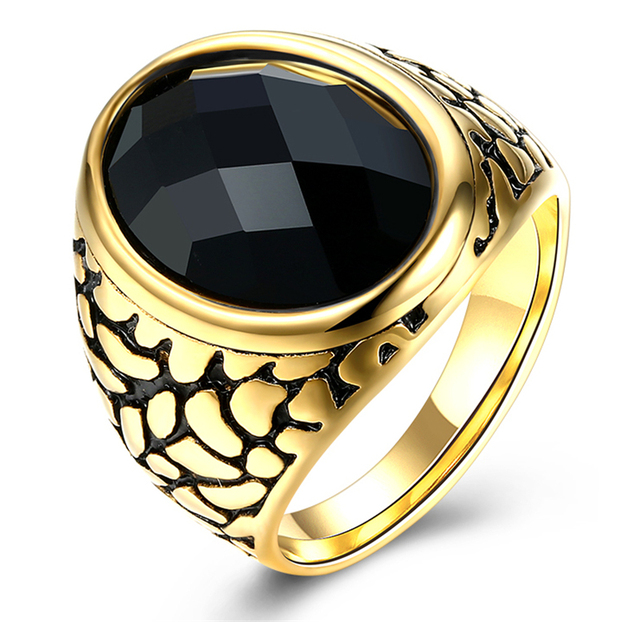 Ring Black Stone Ring For Man Stainless Steel Man s Vintage Punk Black  Stone Rings Male Single Jewelry d983672a50c9
