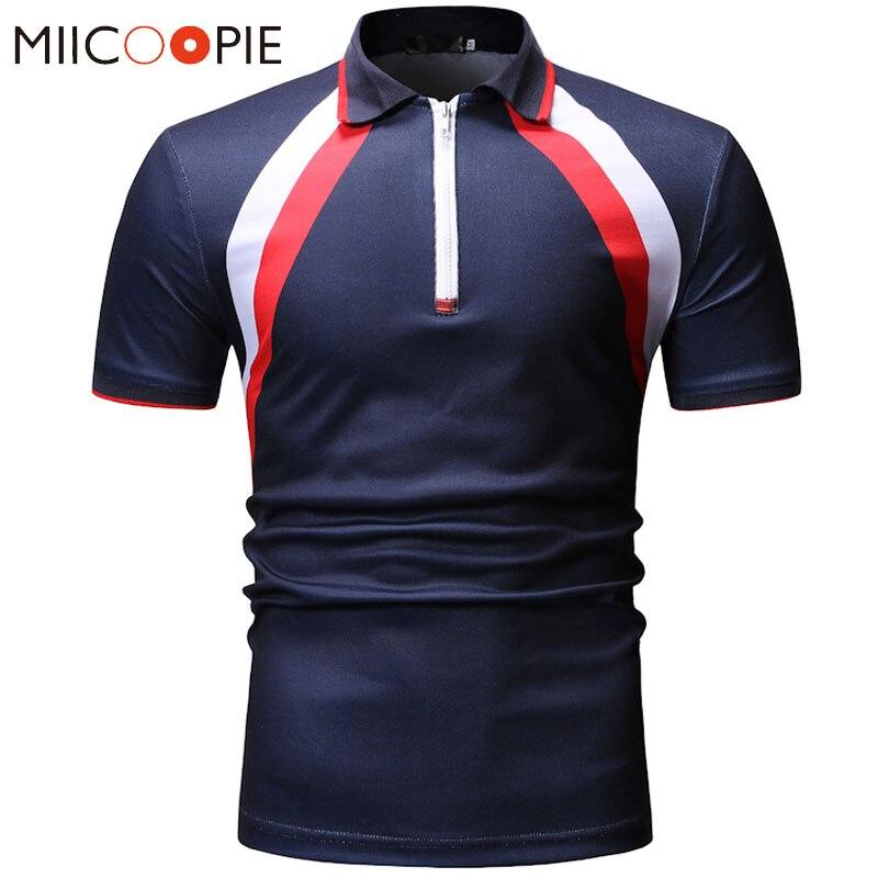 Summer Polo Shirt 2019 New Men Contract Color Zipper Short Sleeve Polos Shirts Mens Clothing Dress Streetwear Polos Para Hombre