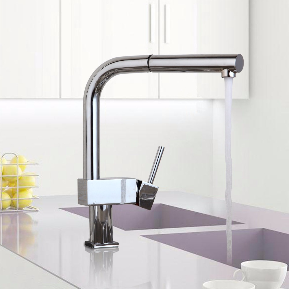 DE Modern Luxury Kitchen Faucet Chrome Polished Basin Faucet Hot and Cold Water Swivel Mixer Pull