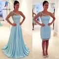 Sexy Two Piece Sky Blue Long Prom Dresses Chiffon Beaded One Shoulder Long Sleeves Sweep Train Women Fashion Evening Party Gowns