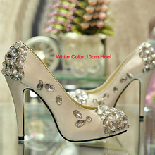 Satin white wedding shoes Gorgeous Crystal High-heeled Bridal Dress Shoes Evening Graduation Party Prom Shoes for Mother