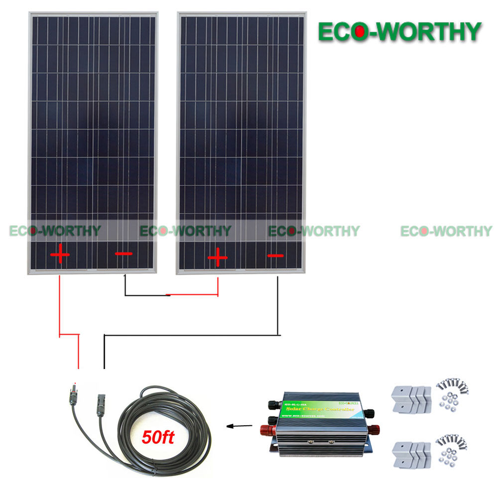 300W 24V Solar System: 2*160W Solar Panel  for Battery Charge solar generators 100w folding solar panel solar battery charger for car boat caravan golf cart