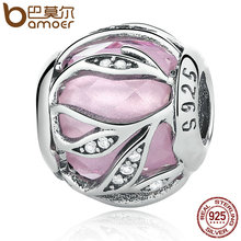925 Sterling Silver Pink Nature's Radiance Sparkling Leaves & Clear CZ Beads Fit  Charm Bracelet Fine Jewelry PSC059