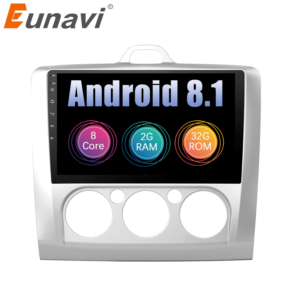 Eunavi 2 din 9'' Android 8.1 8.0 Car dvd Multimedia Player GPS Navigation For Ford focus 2 2004-2011 2din stereo pc radio no dvd