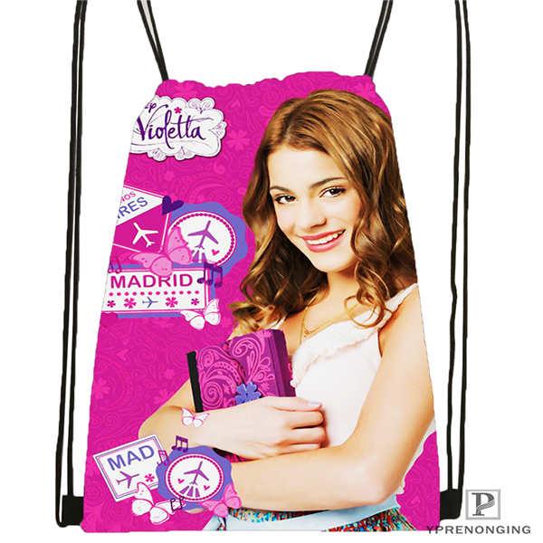 Custom Violetta-single-sided Drawstring Backpack Bag Cute Daypack Kids Satchel (Black Back) 31x40cm#2018611-1(3)