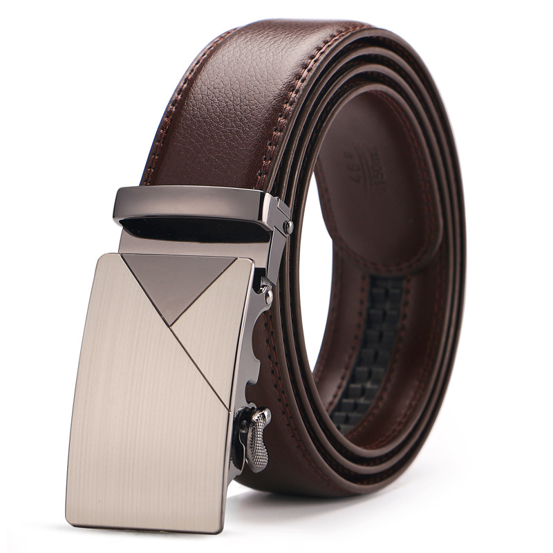 Brand Brown Leather   Belt   for Men Luxury Brand Fashion Automatic Buckle Ratchet   Belts   Comfort Click Leather   Belt   Male