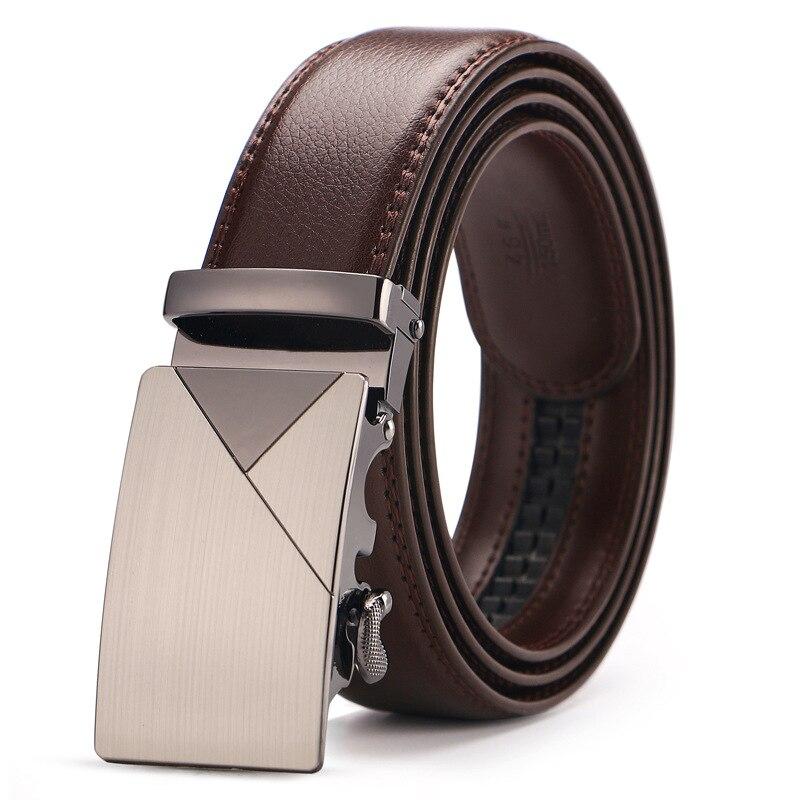 Marke Braun Leder Gürtel für Männer Luxury Brand Fashion Automatische Schnalle Ratsche Gürtel Komfort Klicken Leder Gürtel Männlichen