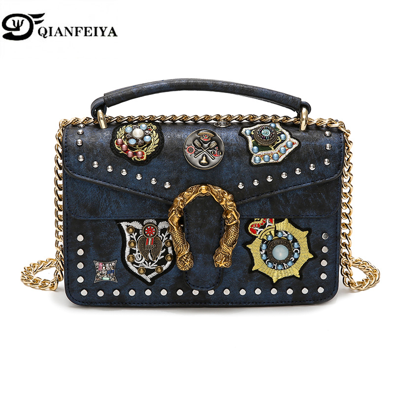 Bags for Women 2018 Luxury Handbags Women Designer High Quality Ladies Shoulder Bags Rivet Cover Messenger Bags louis gg bag Sac europe famous designer rivet embroidery messenger bag high quality mini crossbody bags for women luxury shoulder bag sac femme