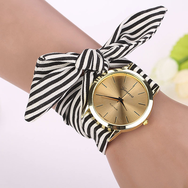 Fashion Women Stripe Floral Cloth Quartz Dial Bracelet Wristwatch Watch saat Fem