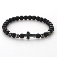 Fashion Charm Bohemia Black Cross Froste Beads Bracelets Women And Men Jewelry Beaded Elastic For Wholesale