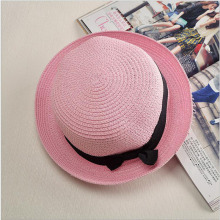 2017 new straw hat female blower hat summer sun hats for women beach curls brim foldable straw black Ribbon