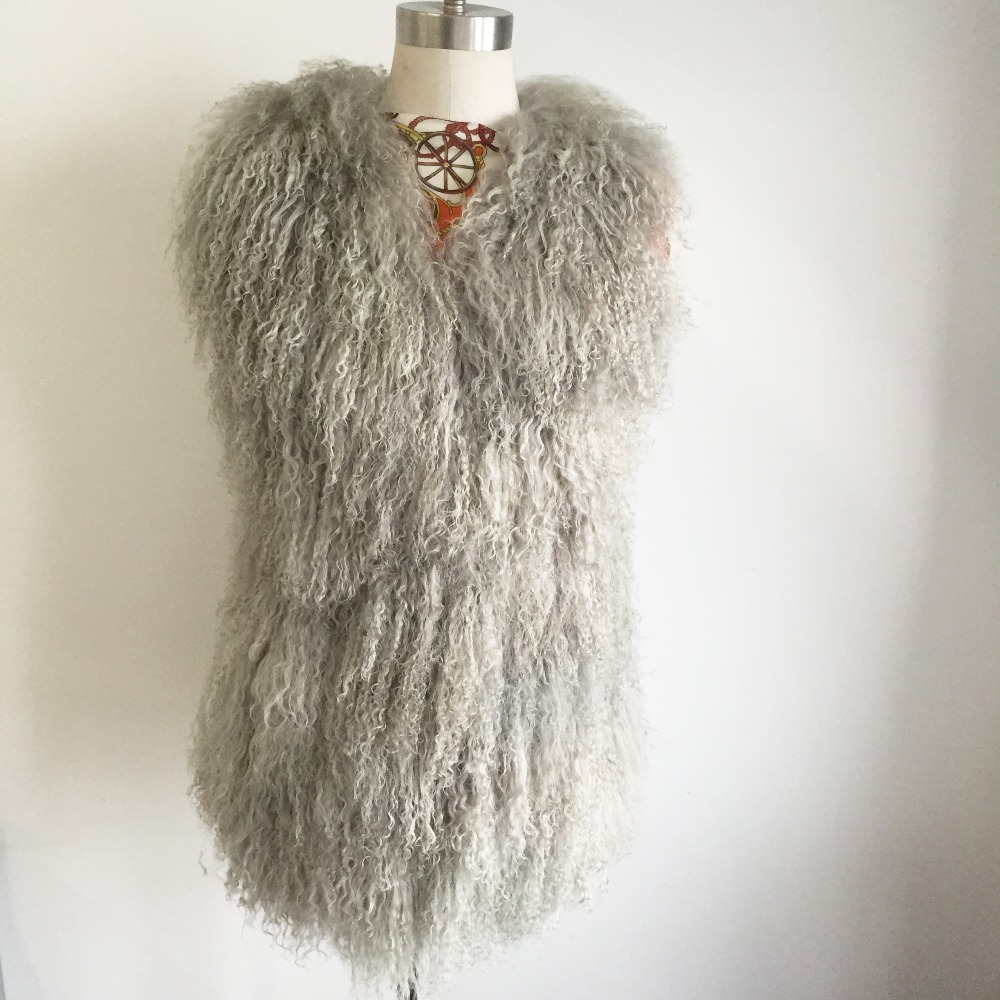 2019 Real Mongolia Sheep Fur Vest V neck Outlet Brand Tan Sheep Fur Gilet Women Hot