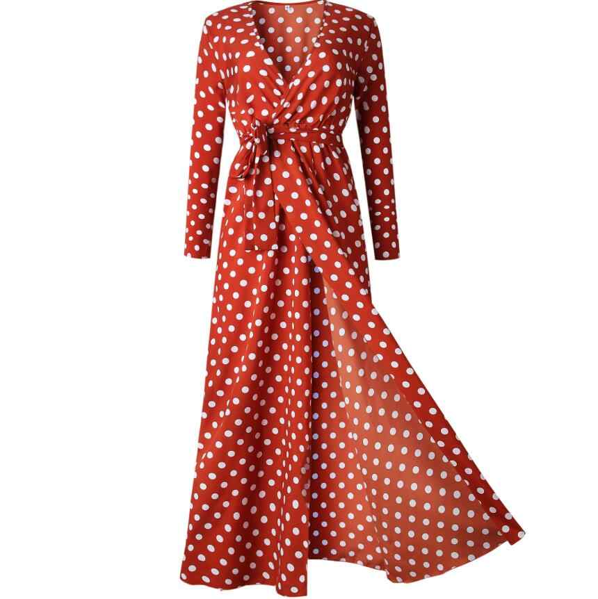 b84b4b77b2c4fe0 ... 2019 осеннее женское платье с длинным рукавом в горошек с глубоким  v-образным вырезом Ретро ...