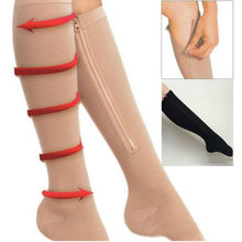 Women Compression Stocking zip sox Slim Leg beauty Shapers Thigh Knee High Sock Tights Pantyhose Calcetines Leg slimming Wraps
