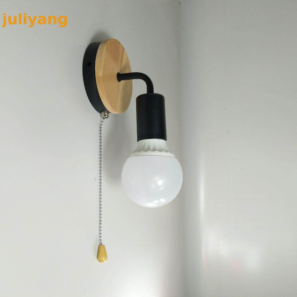 Modern Nordic wood pull switch wall lamp creative iron bedside wall light fixture aisle saving staircase lights 110v 220v