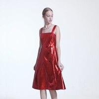 נשים גבירותיי אופנה שרוולים Braces חצאית צווארון מרובע צבע אדום ארוך וינטג אמצע עגל כדור נשף שמלת קוקטייל המפלגה שמלת