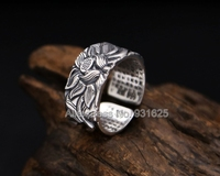 925 Silver Lotus Rings Good Luck Buddha Adjustable Size Popular S925 Solid Thai Silver Heart Sutra