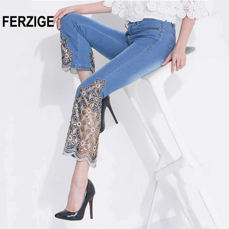 FERZIGE Women   Jeans   Light Blue Black Spring and Summer Thin Stretch Sexy Lace Flares Embroidered Skinny Sequined Slimming Mujer