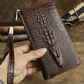 Top Quality New Fashion Men Genuine Leather Crocodile Pattern Clutch Handbag Money Bag Purse Cridet Card Holder Pack Long Wallet