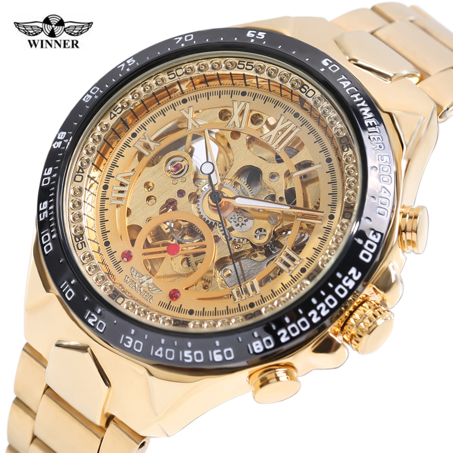 2018 WINNER Lyxvarumärke Klockor Män Automatiska självvindar Mode Casual Male Sports Watch Full Steel Gold Skeleton Armbandsur