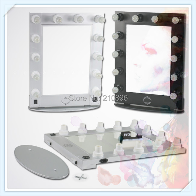 lighted makeup mirrors hollywood style mirror makeup case light bulbs. Black Bedroom Furniture Sets. Home Design Ideas