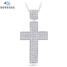 DovEggs Classic Elegant Sterling Solid 925 Silver Cross Delicate Necklace  3ctw 2mm H Color Moissanite Pendant