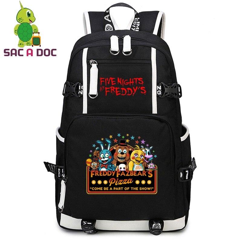 Femmes hommes cinq nuits à Freddy's toile sac à dos école sac à dos sac de voyage sac à dos pour ordinateur portable adolescents FNAF sacs d'école