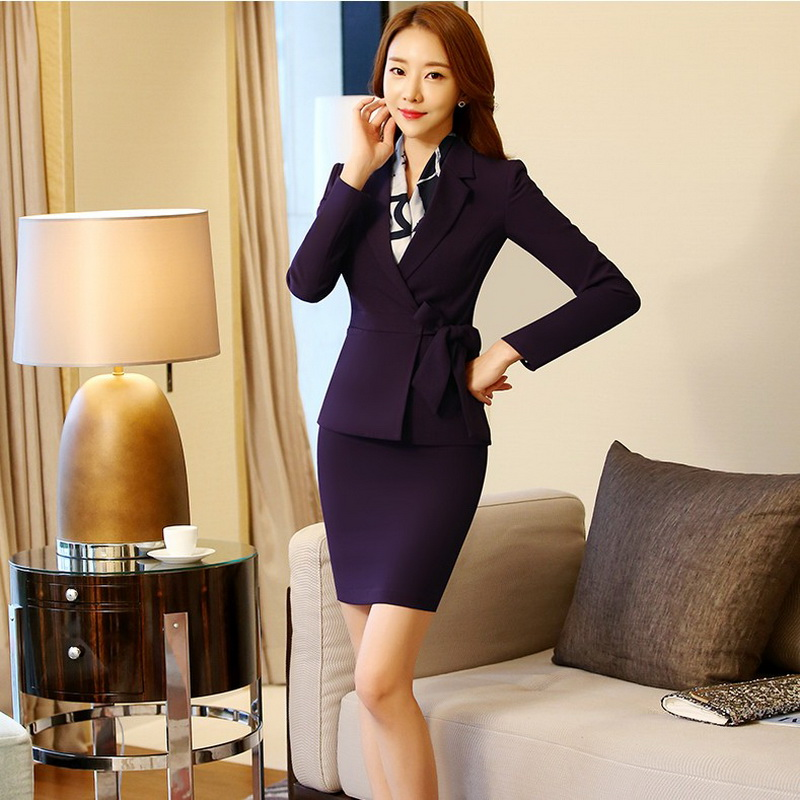 Formal Ladies Office Bow Skirt Suit 2017 Office Uniform