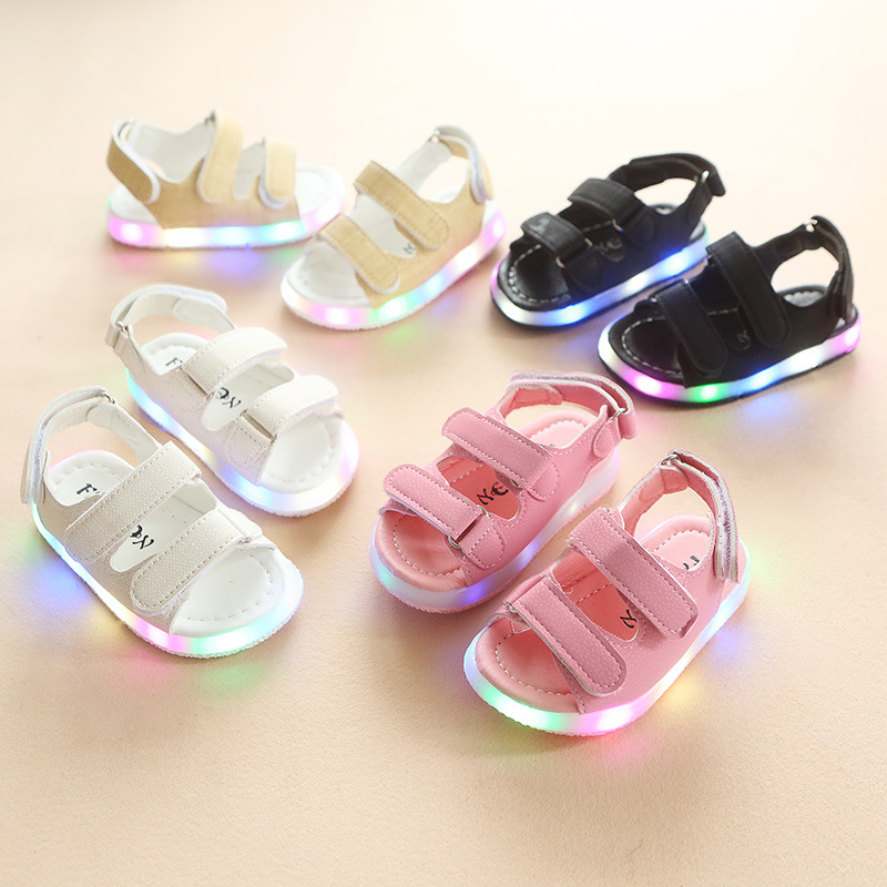 Shoes Girls Sandals Baby-Boy Breathable Kids Fashion Summer LED Hook Loop Illuminate