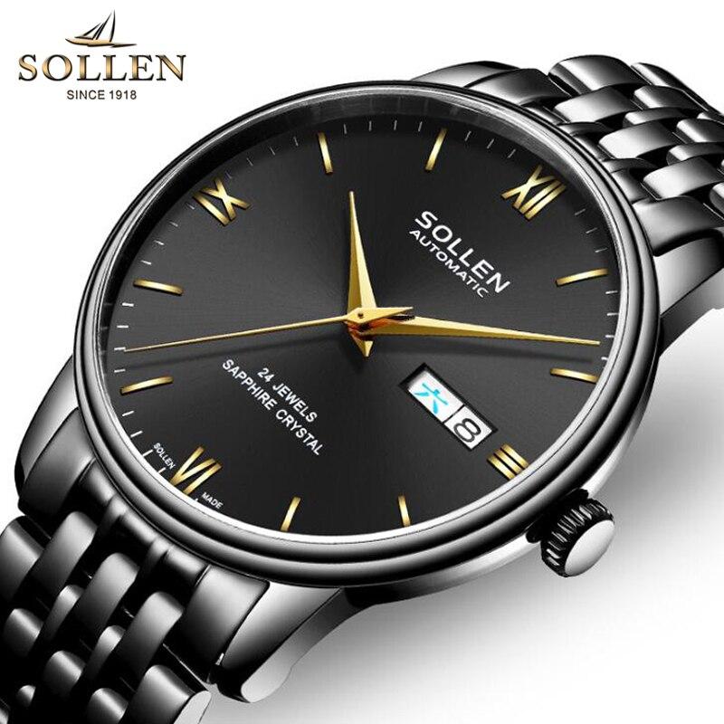 Original SOLLEN mode hommes montre Top marque ultra-mince automatique montre hommes calendrier étanche affaires mécaniques montres 2019