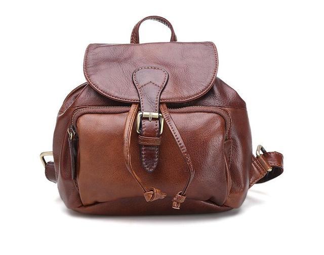2a6223f0b89f Genine cuir femmes petit sac à dos occasionnel style coréen mini sac à dos  première couche