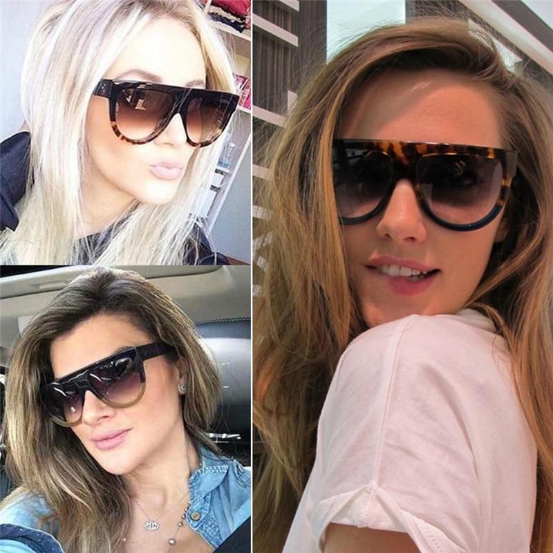 Woman Oculos Flat Top Big Mirror Sun Glasses Eyewear Gafas