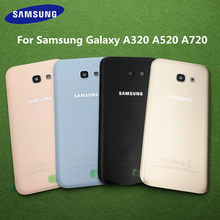 For Samsung Galaxy A5 2017 A520 SM-A520F A3 A320F A7 A720F Battery Back Cover Door Housing Replacement + Rear Camera Glass Lens(China)