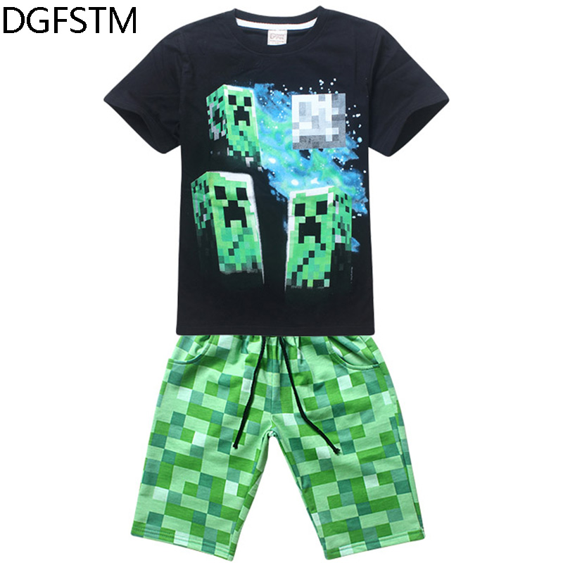new summer Boys Girls Clothing Sets Minecraft Sport Fashion Kid 2pic Suits Set T Shirt+Pants 100% Cotton Tracksuit baby Clothes 4 pieces new fashion print cool boys girls clothing set cotton t shirt hip hop dance pants sport clothes suits kids outfits