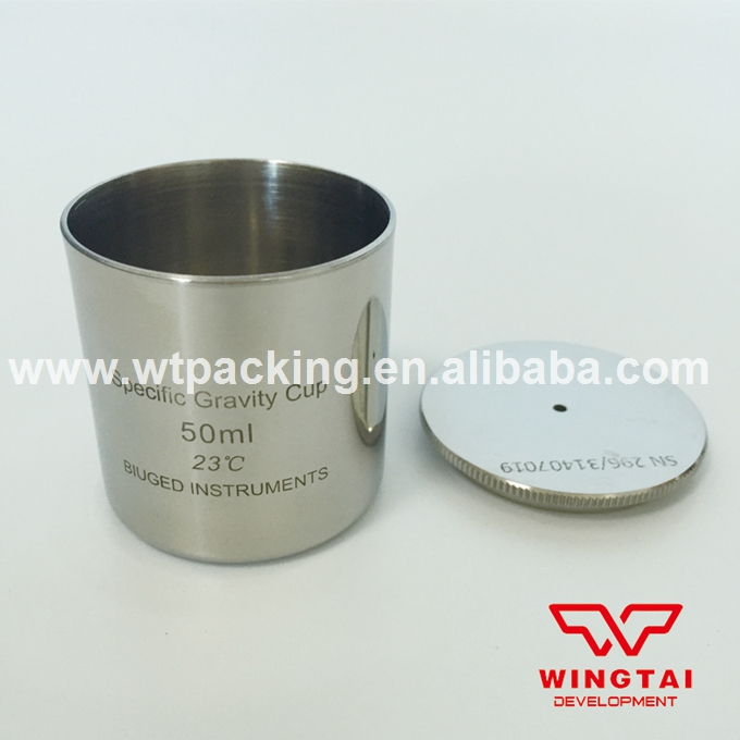 50ml Stainless steel Density Cup Specific Gravity Cups with DIN 53217,ISO 2811 Standard  lab testing stainless steel density cup 50ml capacity specific gravity cup
