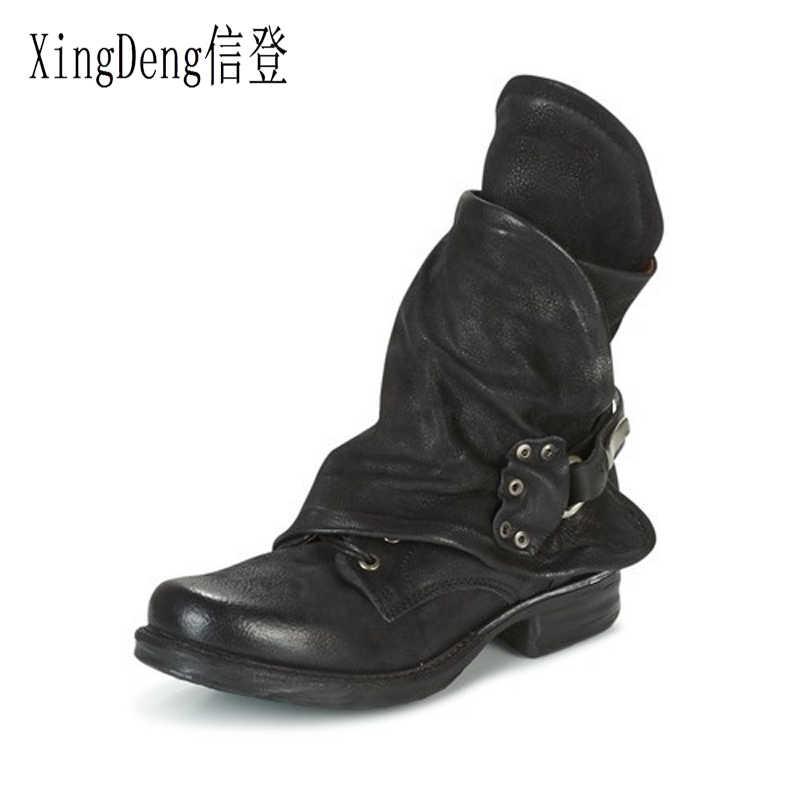 XingDeng yuvarlak ayak kadın İlkbahar sonbahar toka kare topuklu Pu deri Martin çizmeler ayakkabı bayanlar düz ayak bileği batı binici çizmeleri