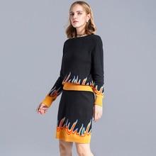 2017 New Knit Long-sleeve wool Sweater Skirt Suits Winter Warm Knit Crochet Crop Top Print Pencil Sheath Skirt Women's 2pcs Sets