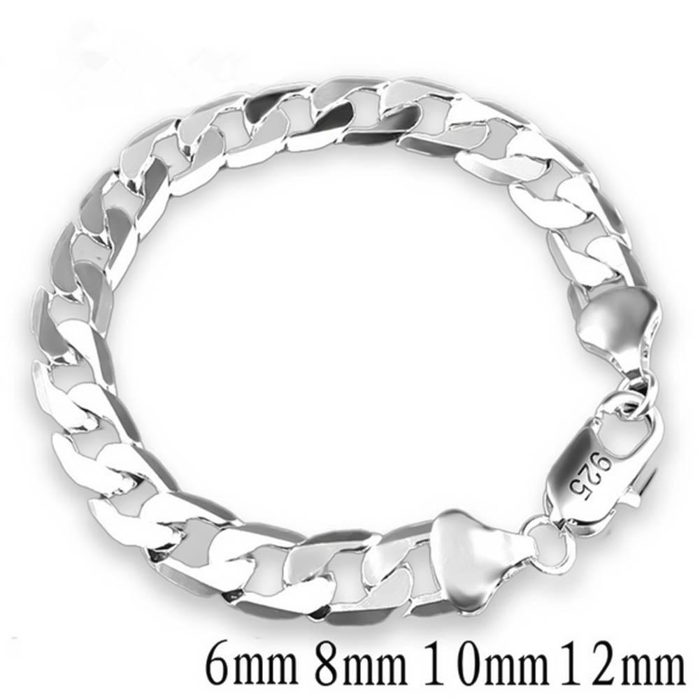 silver bracelets for men Stamped 925 and golden link chains square clasp women bracelet bangle jewelry bouddhiste hot