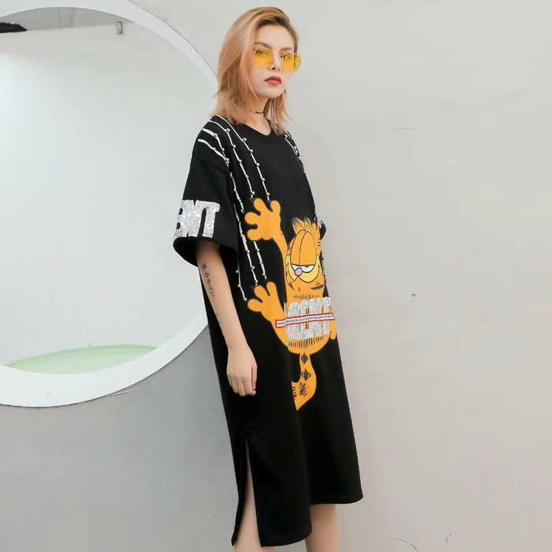 Уличная мода бренд 2019 Весна и лето модели пайетки мультфильм Гарфилд Свободный Длинный разрез с коротким рукавом плотное платье