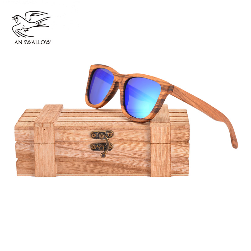 9c20c40889ef8 AN SWALLOW BRAND DESIGN Men Sunglasses Bamboo Sunglasses Handmade Wooden  Frame Polarized Mirror Lens Classic Gafas de sol UV400-in Sunglasses from  Apparel ...