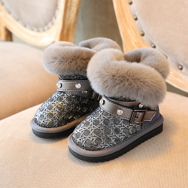 0f6c7c5c2175 2017 Winter Warm Boys Girls Snow Boots Shoes Fashion Korea Flat with Plush Children  Snow Boots