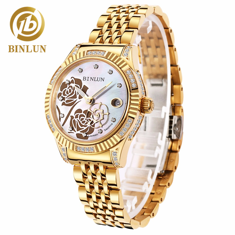 BINLUN Women's 18K Gold Automatic Mechanical Watch Diamond Waterproof Luxury Flower Dial Luminous Analog Wrist Watches for Women