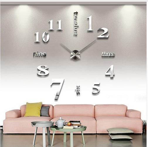 3D Real Big Wall Clock Rushed Mirror Wall Sticker Diy Living Room Home Decor Fashion Watches Arrival Quartz Large Wall Clocks 4