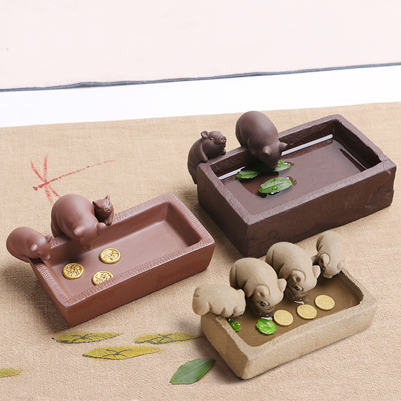 Cute Piggy Drink water ceramic pots Creative Pig ceramic ashtray Desktop Refinement small Flower Pots