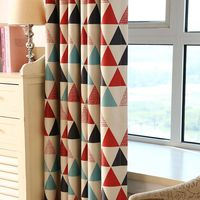 Modern Red Triangle Printed New Home Decorative Curtains Window Curtain For Bedroom Window blind 1*2.5m