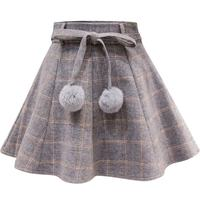 2018 Winter High Waist Women Pleat Skirt Harajuku Style Plaid Skirts Mini Cute Vintage Ladies Kawaii Bow Tie Skirt Faldas X41