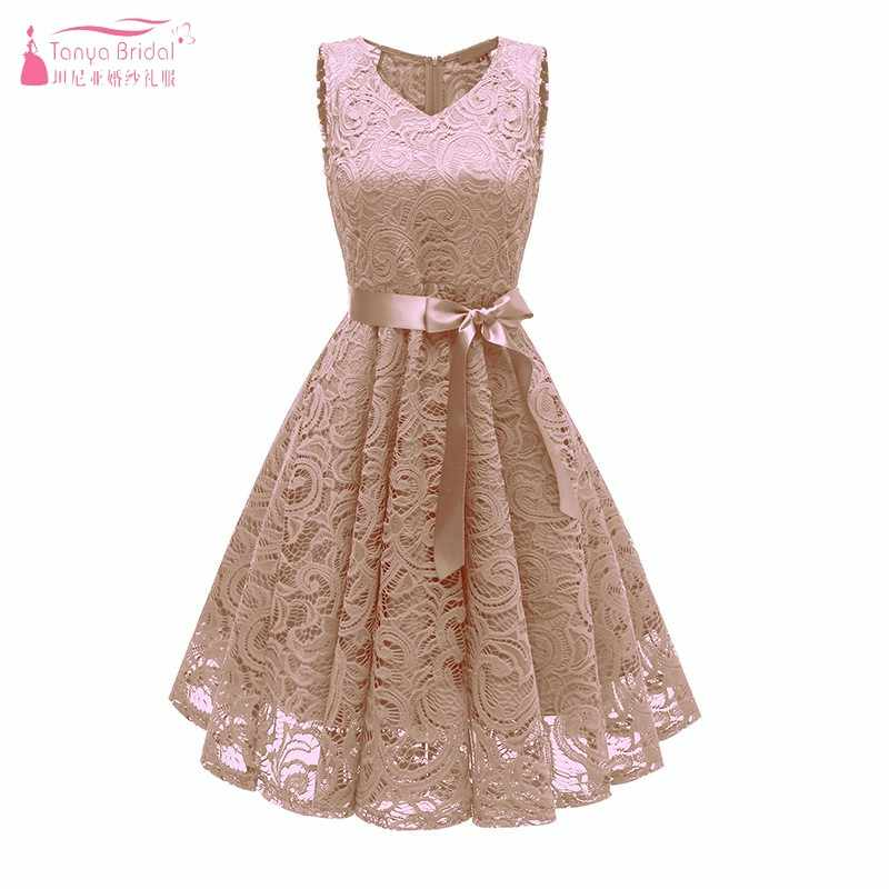 Knee Length Champagne Bridesmaid Dresses 2019 Lace A Line Wedding Guest Dress For Party Formal Women Dress Simple Style Jq73 Aliexpress,Wedding Latest Party Wear Dresses For Ladies