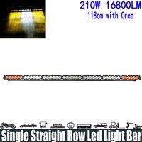 210W 43.8 White Amber Yellow Single Row Led Light Bar Spot/Flood/Combo Beam Super Bright Led Light Bar Running Lights Headlight