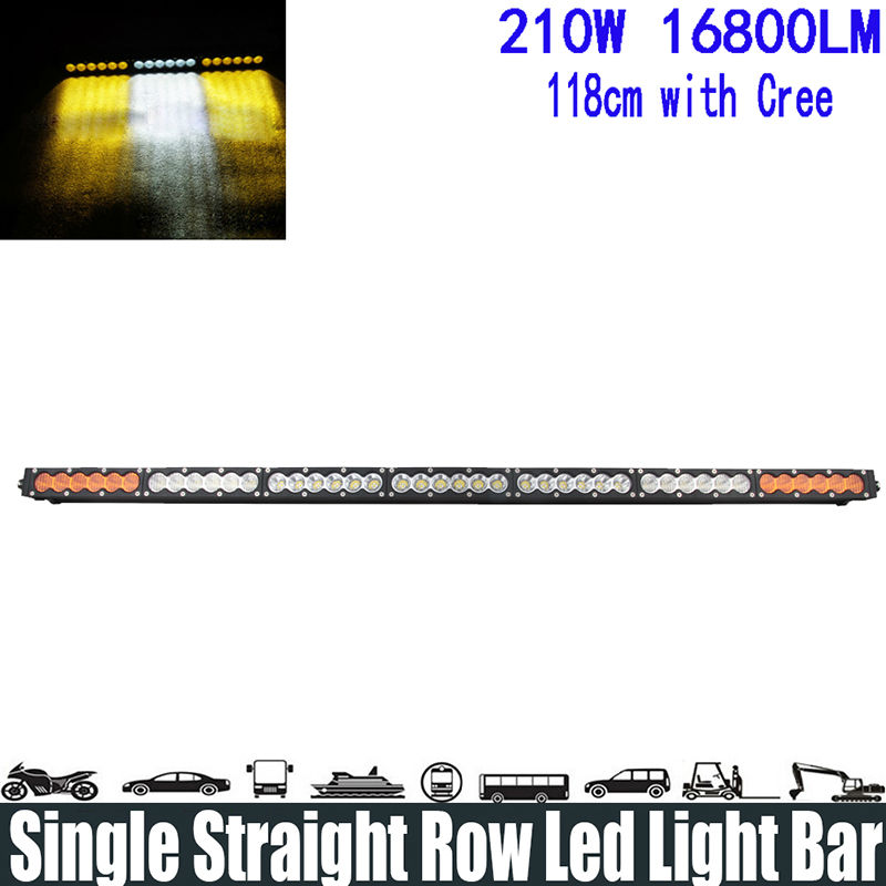 """210W 43.8"""" White Amber Yellow Single offer Led Light Bar Spot/Flood/Combo Beam Super Bright Led Light Bar Running Lights Headlight"""