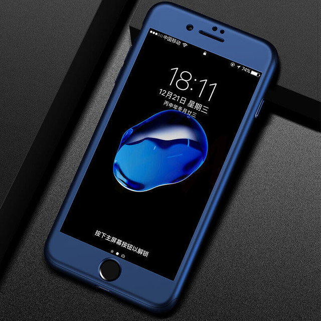H&A Luxury 360 Protective Case For iPhone 7 6 6s Plus Full Hard PC Phone Case For iPhone 8 6 6s 7 Plus Cover With Tempered Glass 3
